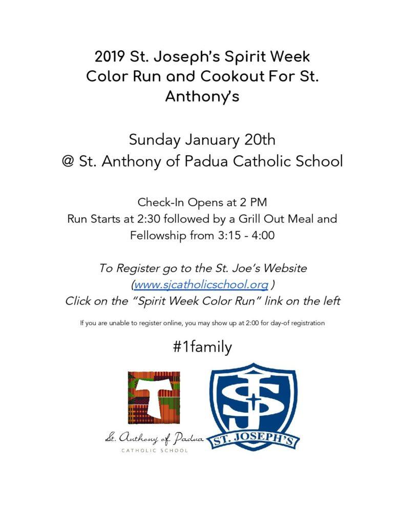 Register for the 2019 St  Joseph's Spirit Week Color Run to